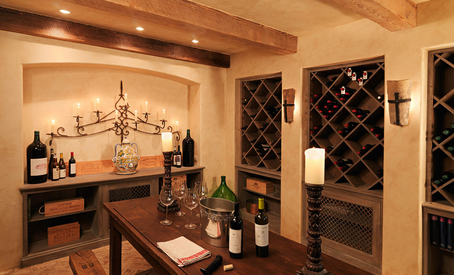 Wine cellar in a home in Albemarle county, designed by Gibson, Magerfield & Edenali Builders.